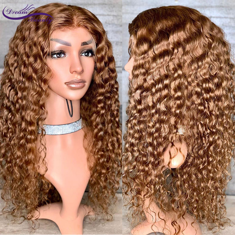 13X6 Lace Front Human Hair Wigs Brazilian Remy Hair Deep Part Pre-Plucked Hairline #27 Honey Blond Hair Kinky Curly