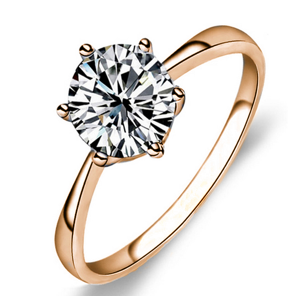 Classic Six Claw Gold Color Ring AAA Austria Crystal Wedding Ring for Bridal Christmas Gift CLOVER JEWELLERY