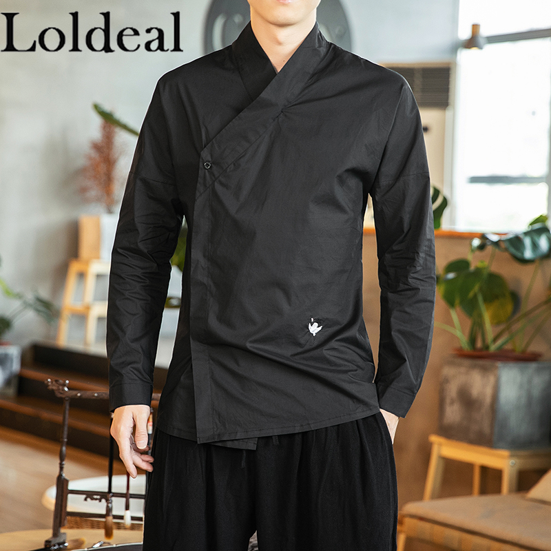 Loldeal Men Long-sleeved Shirt Chinese Style Solid Color Stand Collar Slim Cotton Comfortable Hanfu