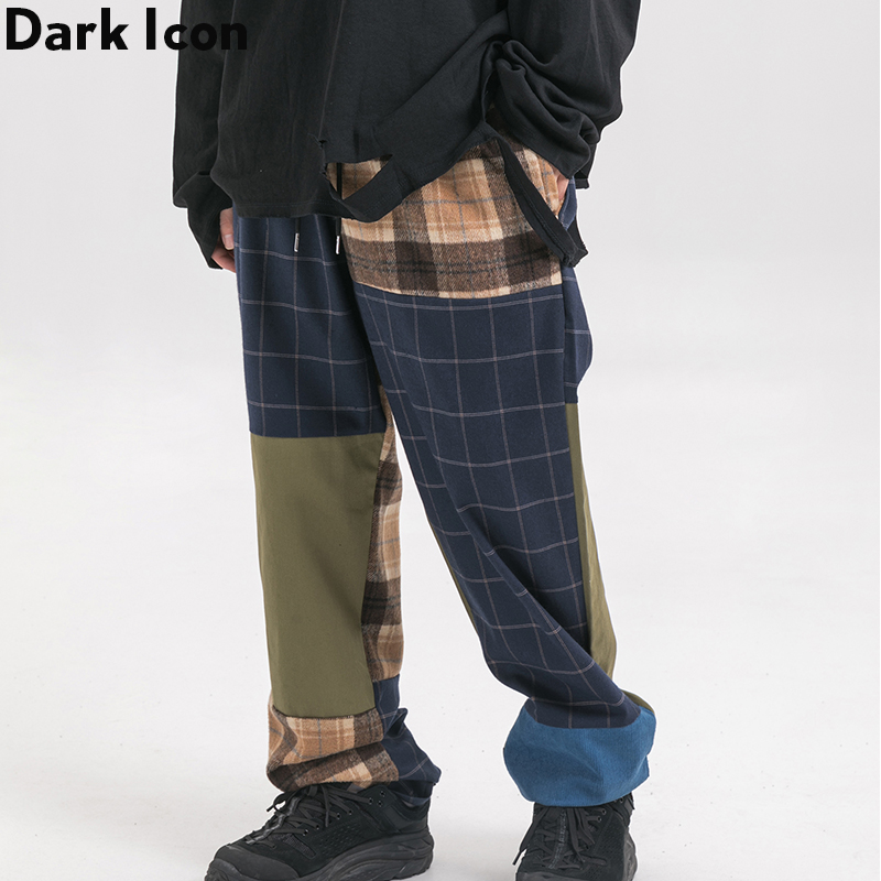 Dark Icon Plaid Patchwork Mens Pants Elastic Waist Loose Style Men Street 2Colors