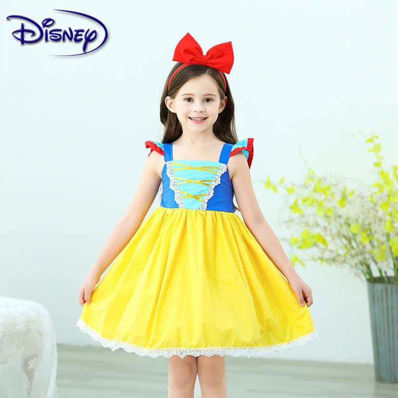 Disney Sweet Girl Summer With Bow Headband Snow White Dress Children's Clothing Show Costume Tutu Dress Cosplay image