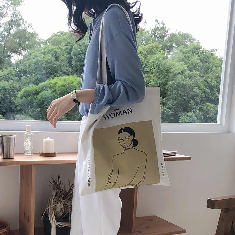2019 Ladies Handbags Cloth Canvas Tote Bag Cotton Shopping Travel Women Eco Reusable Shoulder beach Shopper Bags bolsas de tela