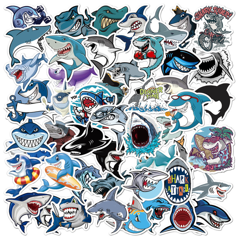 50 PCS Sea World Blue Fish Sharks Dolphin Jellyfish Stickers Waterproof Vinyl Decal For Laptop Helmet Bicycle Luggage