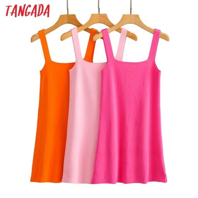 Tangada Fashion Women Solid Elegant Candy Color Knit Dress Sleeveless 2021 Summer Ladies Dress AI57 1