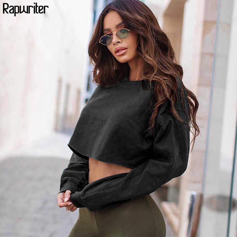 Rapwriter mode solide Harajuku coton basique sweat femmes 2019 automne ample col rond manches longues Stretch haut court pulls