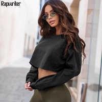 Rapwriter Fashion Solid Harajuku Baumwolle Grundlegende Sweatshirt Frauen 2019 Herbst Lose Oansatz Langarm Stretch Crop Top Pullover