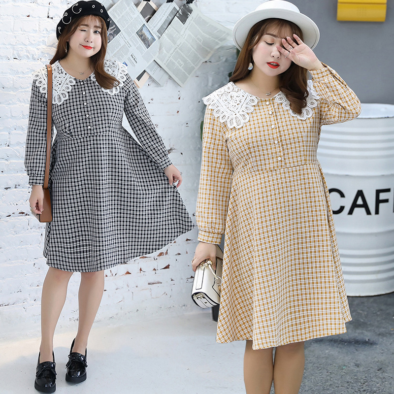 2019 Autumn Clothing Plus-sized WOMEN'S Dress Sweet Hipster Peter Pan Collar Plaid Dress A Generation Of Fat 6743