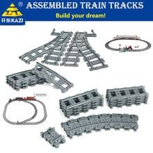 Kazi qualidade diy cidade trem ferroviário em linha reta & curvo faixas conjuntos de blocos de construção são adequados para variouestirpes brinquedo do miúdo presentes