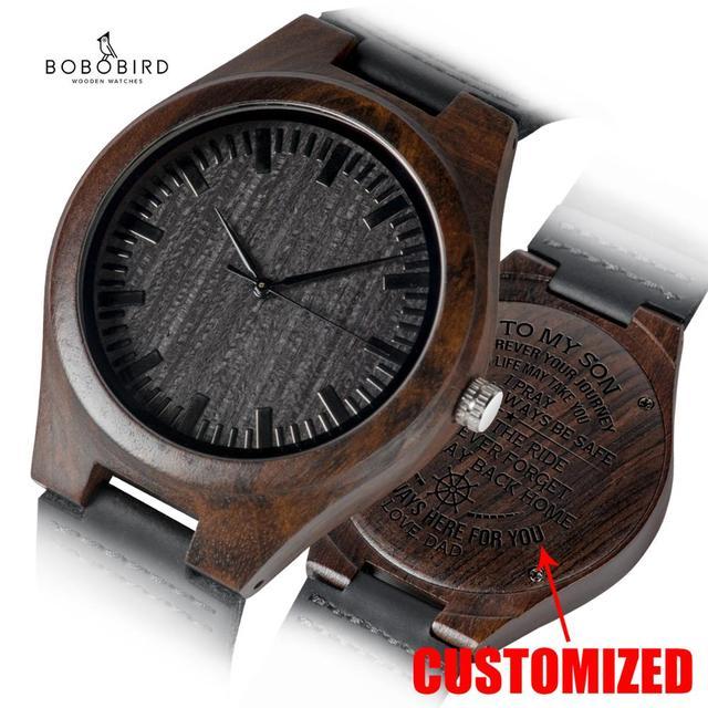 Personalizado gravado relógios de madeira presentes para o pai, mãe, amigos, aniversário, dia do aniversário, presente do padrinho