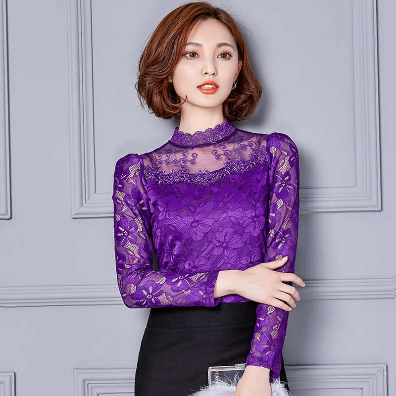 Blusas Mujer De Moda 2019 Wanita Atasan Blus Kemeja Putih Renda Hollow Keluar Berdiri Lengan Panjang Harajuku Plus Ukuran 2305 50