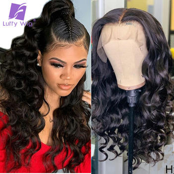 13x6 Lace Front Human Hair Wigs 180density Fake Scalp Lace wig Wavy Brazilian Remy Bleached Knots PrePlucked For Women Luffy