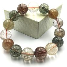 16mm Natural Colorful Rutilated Quartz Crystal Bracelet Gold Green Copper Red Women Love Charms Round Beads Stone Stretch AAAAA