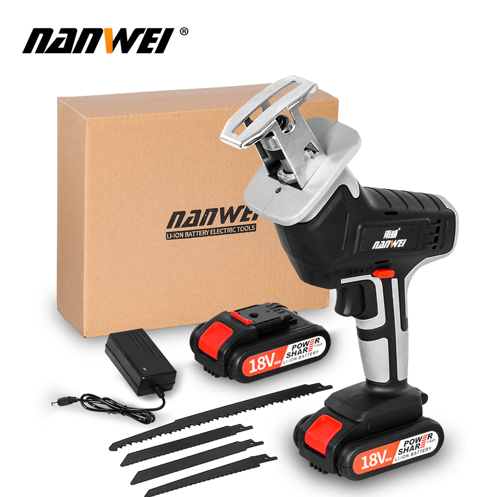 18V42vf NANWEICordless Electric Lithium Power tool Portable and rechargeable Hand Reciprocating Saw Saber Saw Multi-function saw - Цвет: 18V 2B set1