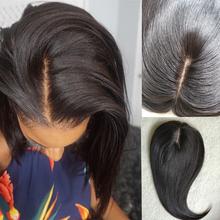 13x15cm Silk baza włosów toppery 100 tupecik z ludzkich włosów dla kobiet Natural Black Machine Remy włosy włosy doczepiane Clip In tanie tanio PAFF = 60 CN (pochodzenie) 6 miesięcy