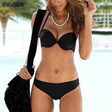 INGAGA-Bikinis con Push-Up para mujer, traje de baño con tirantes y cuello Halter, Bikini fruncido negro, ropa de playa, conjunto de Bikini XXL 2021