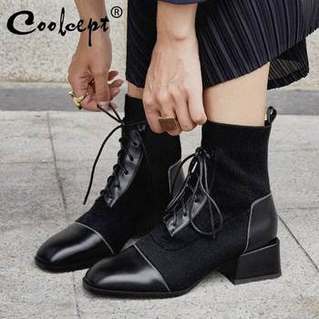 Coolcept Women Genuine Leather Ankle Boots Comfortable Soft Witer Warm Shoes Women Office Ladies Knitting Botas Size 34-39