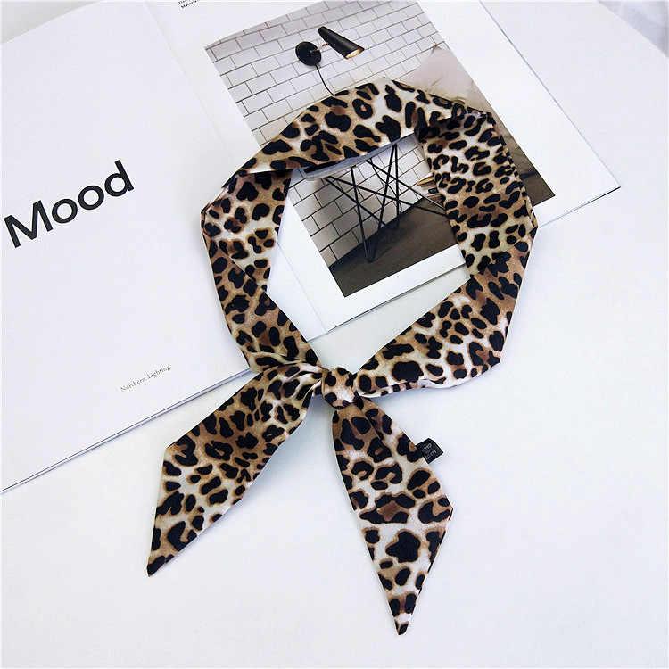 90cm küçük leopar baskılı eşarp kare saten eşarp kafa boyun eşarbı fular Femme Bandana zarif kadın saç kravat bandı Wrap hediye