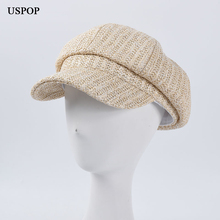 USPOP czapki wiosenne damskie czapki ośmiokątne oddychające letnie czapki słomkowe czapki damskie newboy czapki casual solid color czapka z daszkiem tanie tanio Ośmioboczna Kapelusze LLZ- NW2015 Stałe WOMEN Słomy
