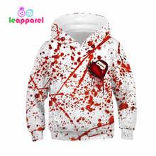 LEAPPAREL 2019 Girls Boys Halloween Hoodies 3D Heart Blood Printed Sweatshirt Long Sleeve Fall-Winter Kids 6-16T