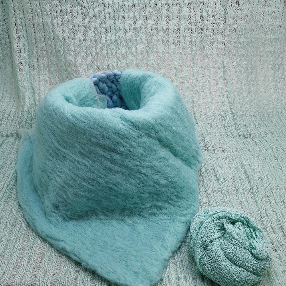 150*100cm Posing Layer Backdrop+Knitted Basket+50x50cm 100% Fluffy Wool Felt Blanket  +140*30cm Stretch Knit Wrap For Baby Shoot