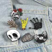 Punk style brooch magic wizard cranio vampire rose button pin denim jackets brooches badge gifts gothic jewelry dropshipping