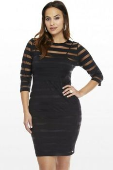 Hiriginr 2020 Fashion Women Plus Size 4XL Dress Clubwear See Through Bodycon Party Mini Striped Dress Vestido De Mujer image