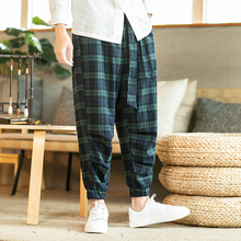 Autumn New Plaid Pants Men Fashion Contrast Color Casual Drawstring Trousers Man Streetwear Hip Hop Loose Wide Leg Pants M-5XL недорого