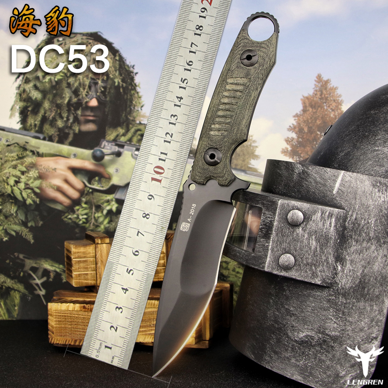 LENGREN pocket knife Flax-Handle DC53 steel north American hunting knife Outdoor Tactics Military Straight knife Camping knife
