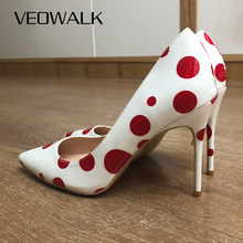 Veowalk Red Polka Dot Women Patent Leather Pointy Toe Stiletto High Heels Chic OL Ladies Slip On Pumps Printed Party Shoes White