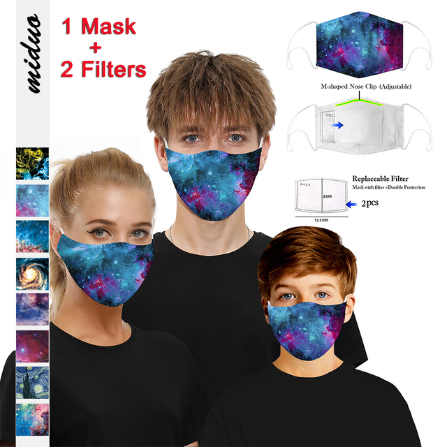 PM2.5 Anti dust Mouth Mask Anti-fog Activated carbon Filter Face Masks bacteria proof Flu Anti Pollution Multicolor Print masque