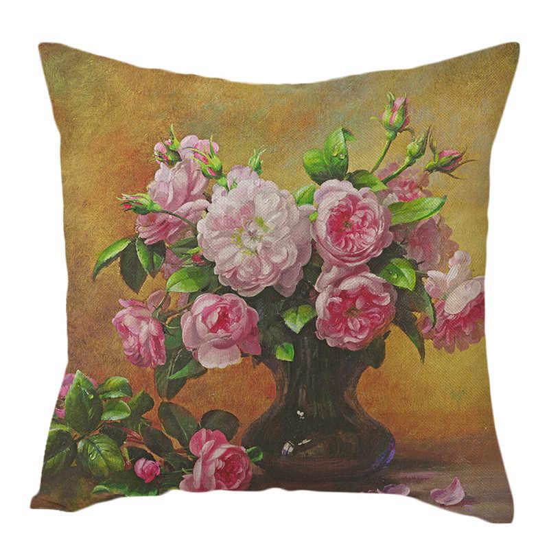 Fuwatacchi טהור פשתן כרית כיסוי עלה פרח כרית כיסוי לבית כיסא ספה דקורטיבי כריות שמן ציור פרחי כריות