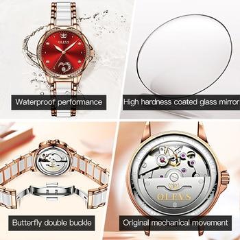 OLEVS Women watch Set Waterproof Automatic Mechanical watch Female Ceramic watch Gift for Women Wristwatches 5