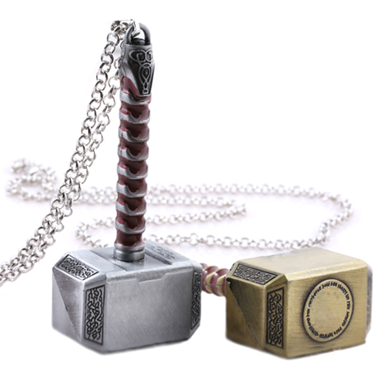 Hot Thor Hammer Pendant Necklace Classic Marvel Avengers Dark World Necklace брелок Women Men Movie Fans Dropshipping(China)