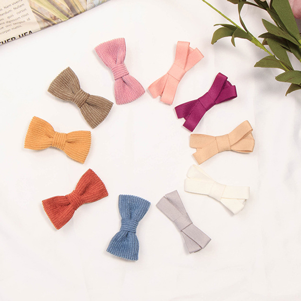 10Colors Linen Cloth Bow Hair Clip Girl Bowknot Hairpins Kids Baby Headwear Gift