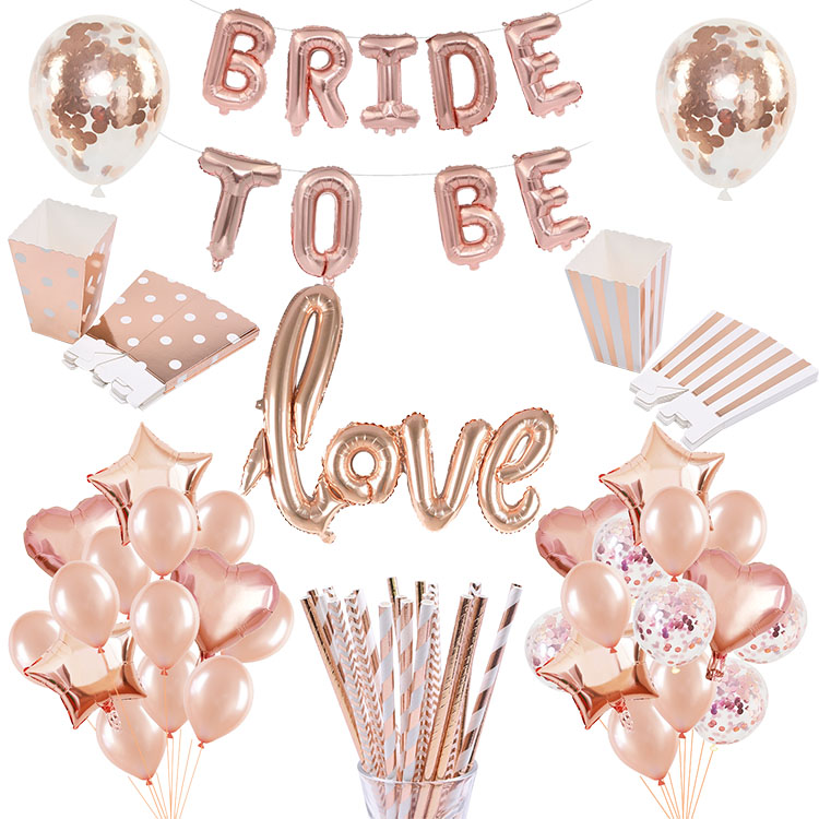Rose Gold Bride To Be Letter Confetti Foil Balloon Tableware Hen Bachelorette Party Decoration Wedding Decor Supplies