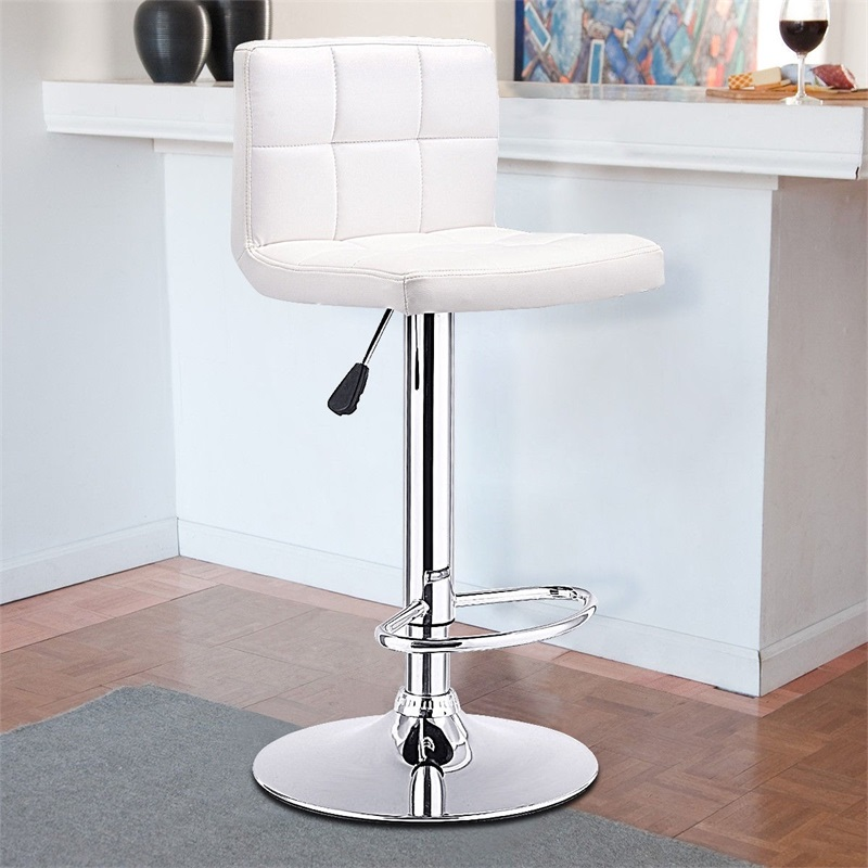 Swivel Bar Stool Bistro Chair White Black High Quality Modern Ergonomic Wear-resistant Breathable Metal Bar Chairs HW53843