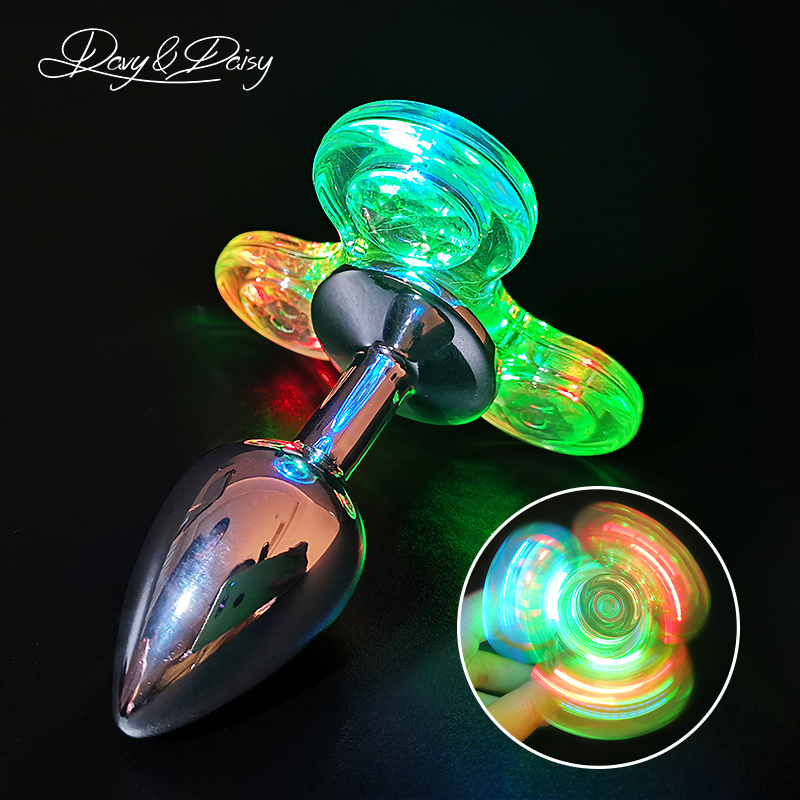 DAVYDAISY LED Light Fidget Spinner Butt Plug Novel Anal Toy For Couples Sexy Stainless Anal Plug Tail Plug Adult Sex Toy AC126