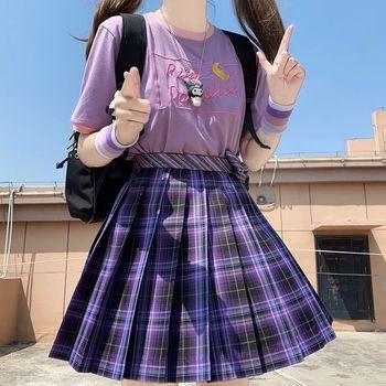 Kobiet fioletowy czarny Goth plisowana w kratę spódnica Glir wysoka talia Mini seksowne spódnice japońska szkoła Harajuku Anime Cosplay mundurek marynarski tanie i dobre opinie COTTON Akrylowe CN (pochodzenie) Osób w wieku 18-35 lat A-LINE NONE WOMEN WG-BSQ04 empire Plaid W stylu Preppy Powyżej kolana Mini