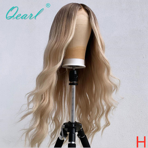 "Full Lace Human Hair Wigs 8""-26"" Ombre Blonde Colored Middle Part Full Wig for Women Brazilian Wavy Remy Hair 150% 180% Qearl(China)"