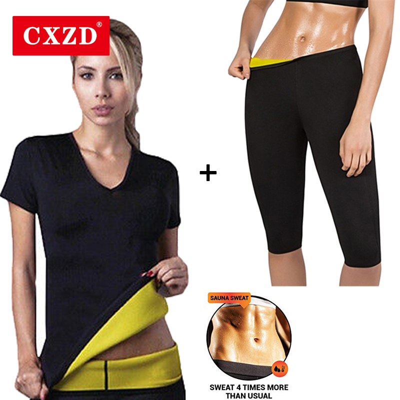CXZD Slimming Shaper Pant + T-shirt Neoprene Slim Fat Burning Weight Loss Neoprene Detox Workout Body Shapers Fat Burning Shirt image