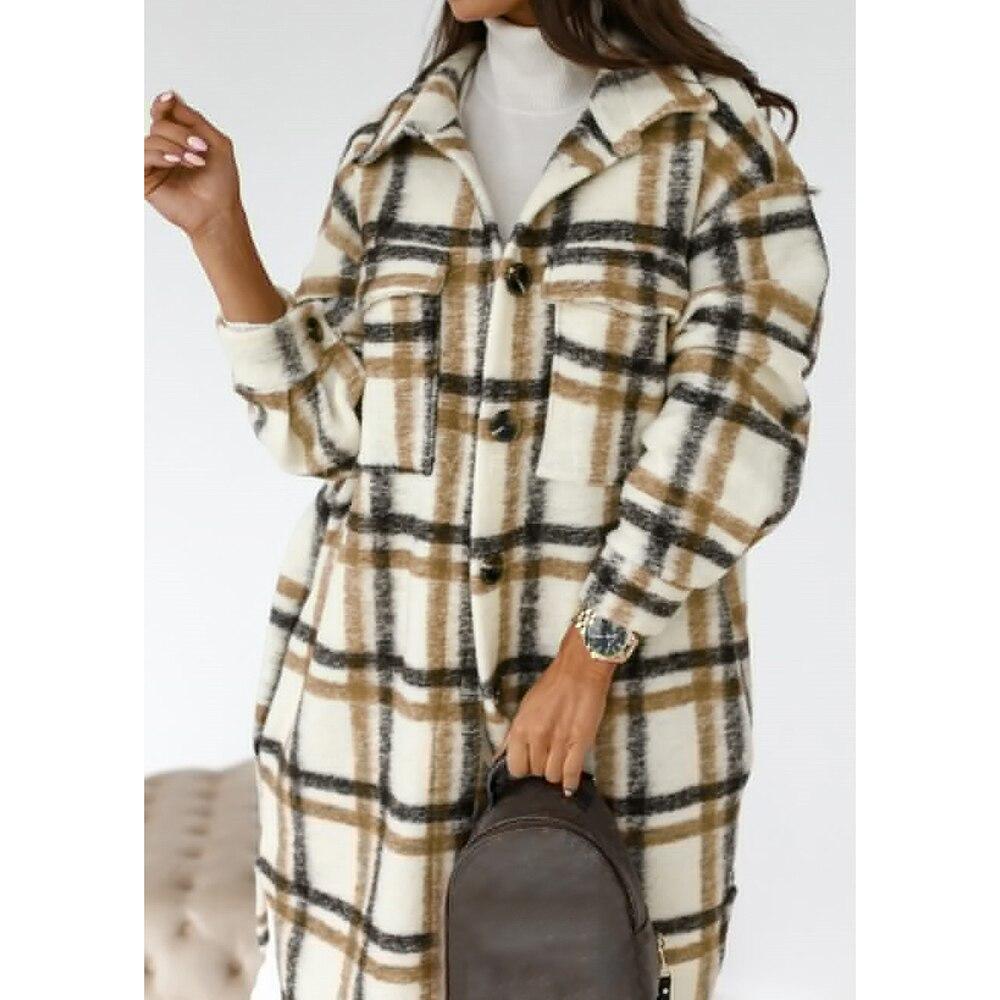 2020 Winter Checked Women Jacket Down Overcoat Warm Plaid Long Coat Oversize Thick Woolen Blends Female Streetwear