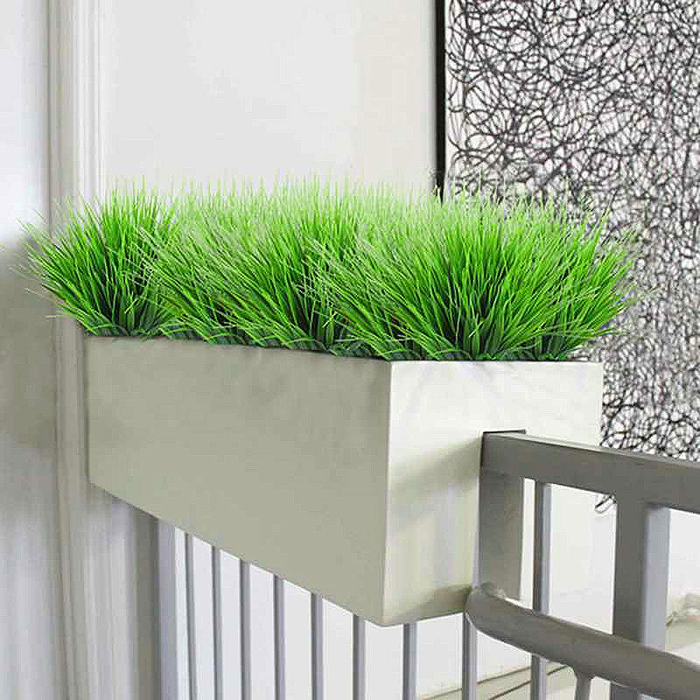 4pcs Outdoor Artificial Plants Plastic Fake Greenery Shrubs Wheat Grass Bush Potted Simulation Plant 7 Fork Spring Grass