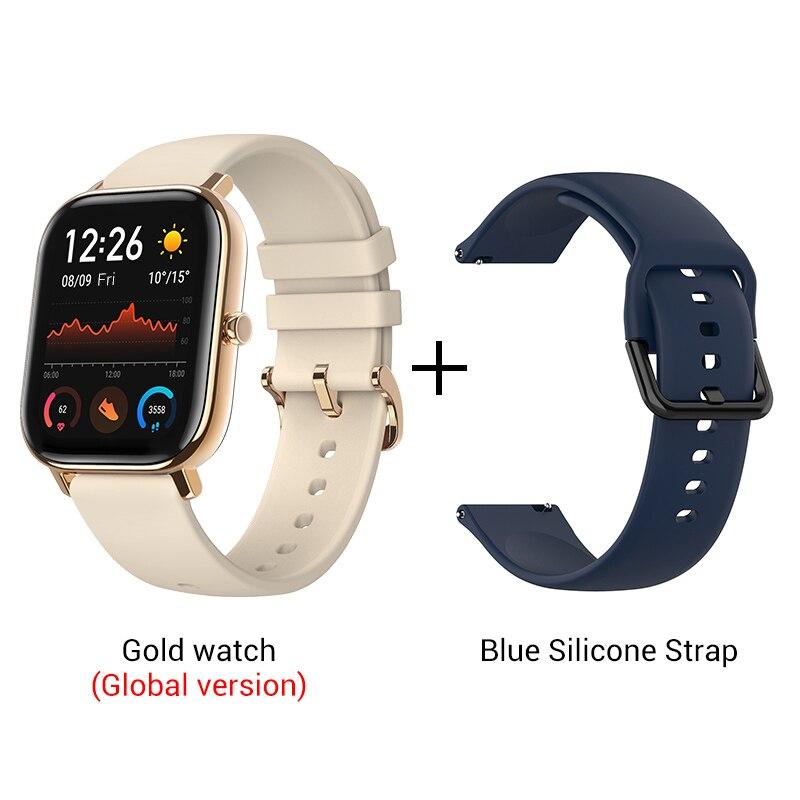 СМАРТ-ЧАСЫ XIAOMI HUAMI AMAZFIT GTS- Выглядит как часы Apple - Цвет: Gold n Blue strap