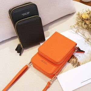 Image 5 - Новый маленький женский кошелек Кроссбоди для сотового телефона, мини легкие кожаные сумки мессенджеры, сумка для сотового телефона с ремешком и отделениями для карт