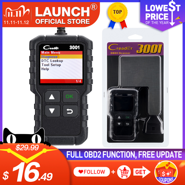 LAUNCH Code Reader CR3001 OBD2 Scanner Engine Fault CAN Scan Tool with Full OBDII Functions with Multilingual free update online