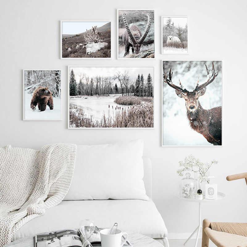 الاسكندنافية المشارك و طباعة الشتاء طبيعة المشهد قماش اللوحة البيرة الغزلان الحيوان جدار صورة فنية الشمال نمط ديكور المنزل
