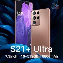 S21+ Ultra Face ID Fingerprint Unlock Cellphone 7.3''6800mAh Global Version 16+512G 24+48MP Full HD Screen Support 5G Smartphone
