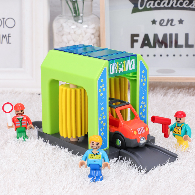 Wooden Track Train Set Car Wash Room Wooden Railway Car Educational Puzzle Toys Compatible Brand Wooden Track Toys for Boy Gifts|Diecasts & Toy Vehicles|   -