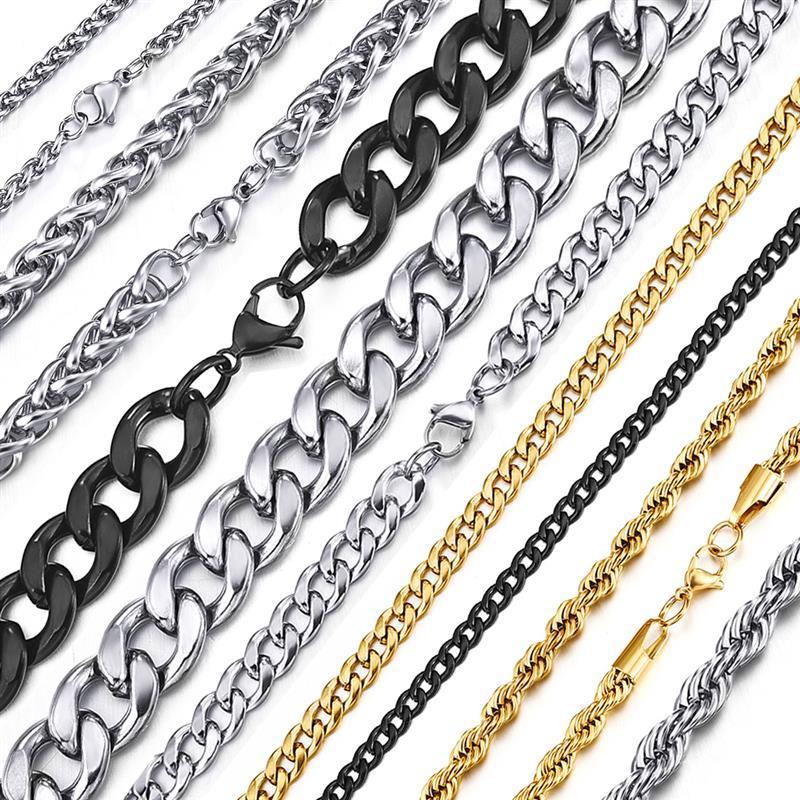 Цепочка из нержавеющей стали для мужчин и женщин, цепочка с кубинскими звеньями черного, золотого и серебряного цвета Панк, чокер, модные му...