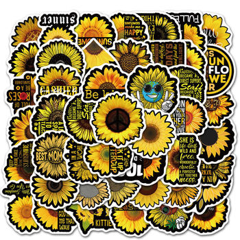 50 pcs/Pack Cute Sunflower Stickers Car Phone Travel Luggage Trolley Laptop Computer Sticker Toy image